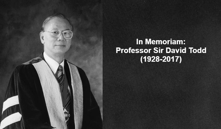 In Memoriam: Professor Sir David Todd (1928-2017)