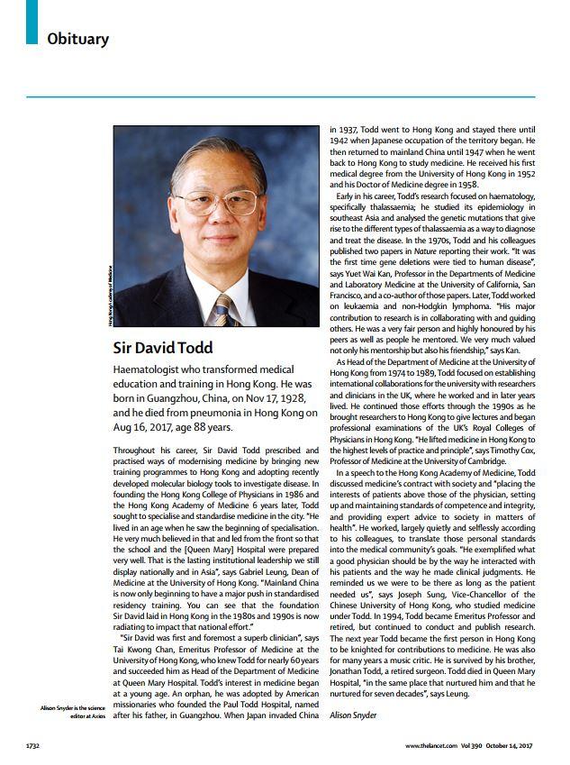 Obituary on The Lancet: Professor Sir David Todd