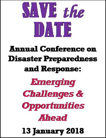 Annual Conference on Disaster Preparedness and Response (ACDPR) 2018: Emerging Challenges & Opportunities Ahead