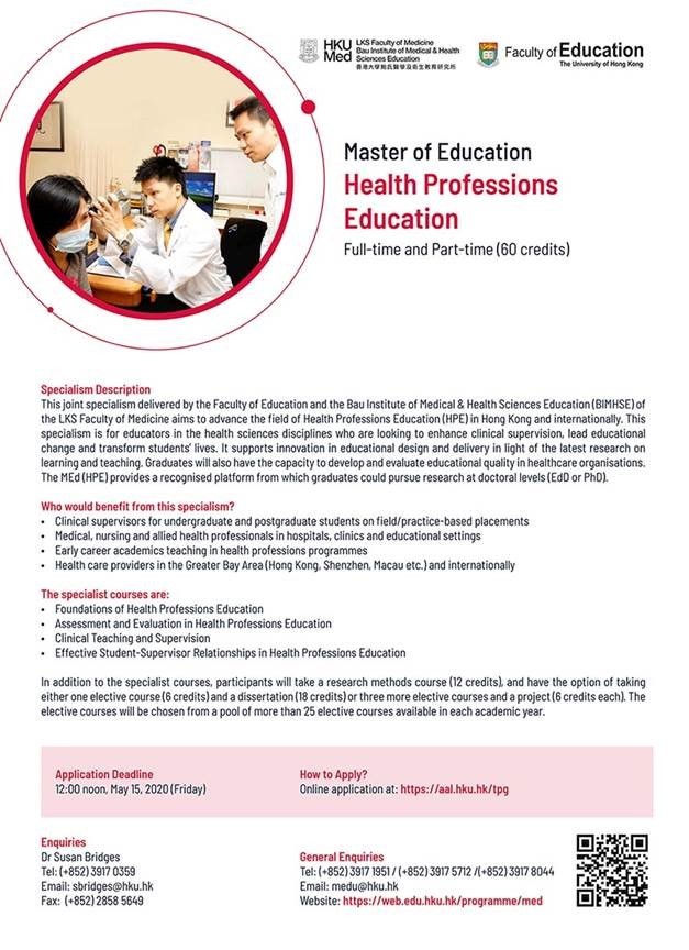 Master of Education in Health Professions Education